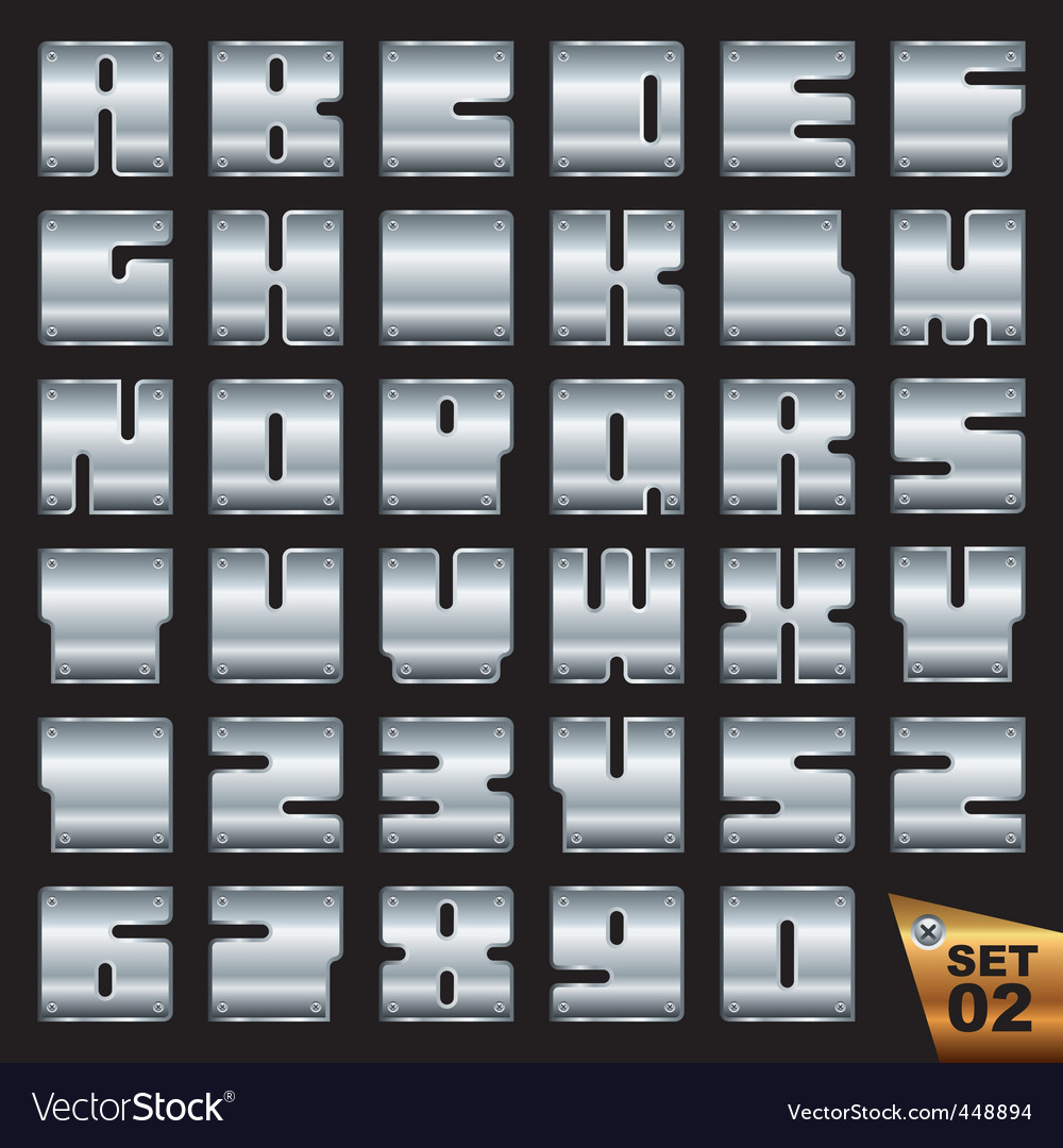 Silvel font set vector