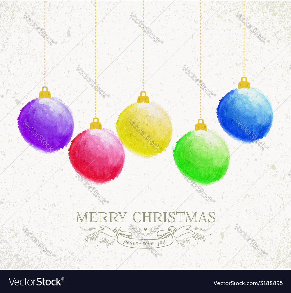 Christmas oil pastel baubles greeting card vector