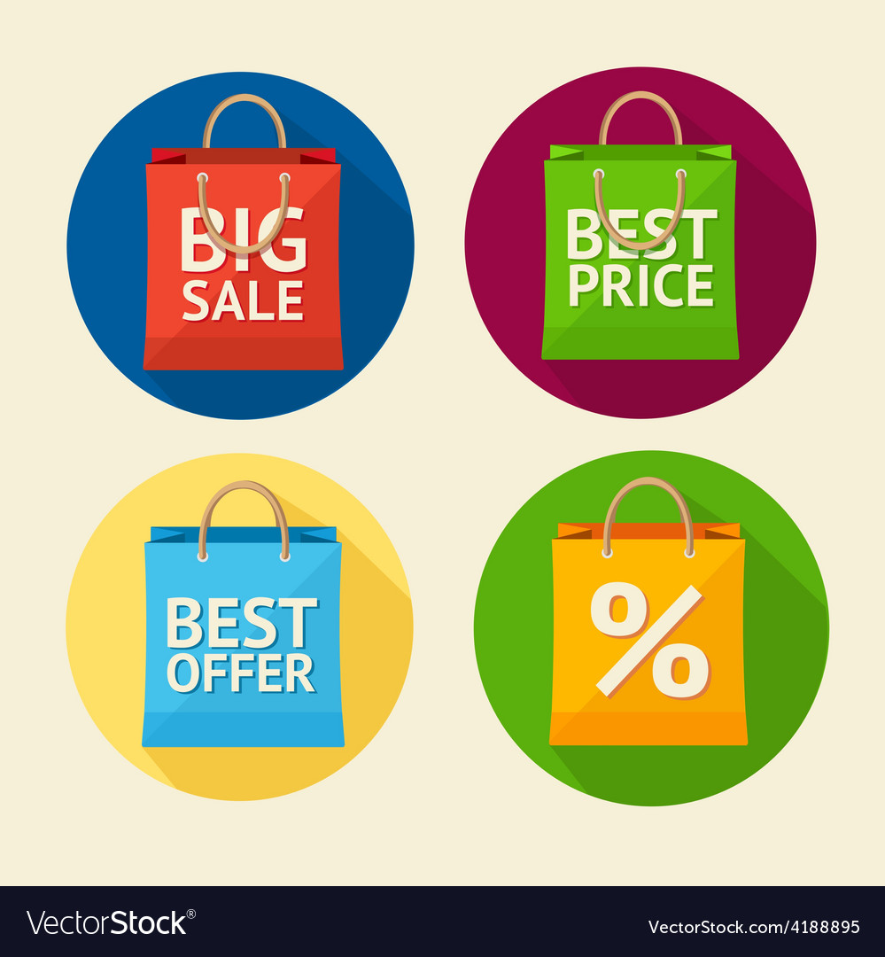 Paper bag sale icon set flat design vector