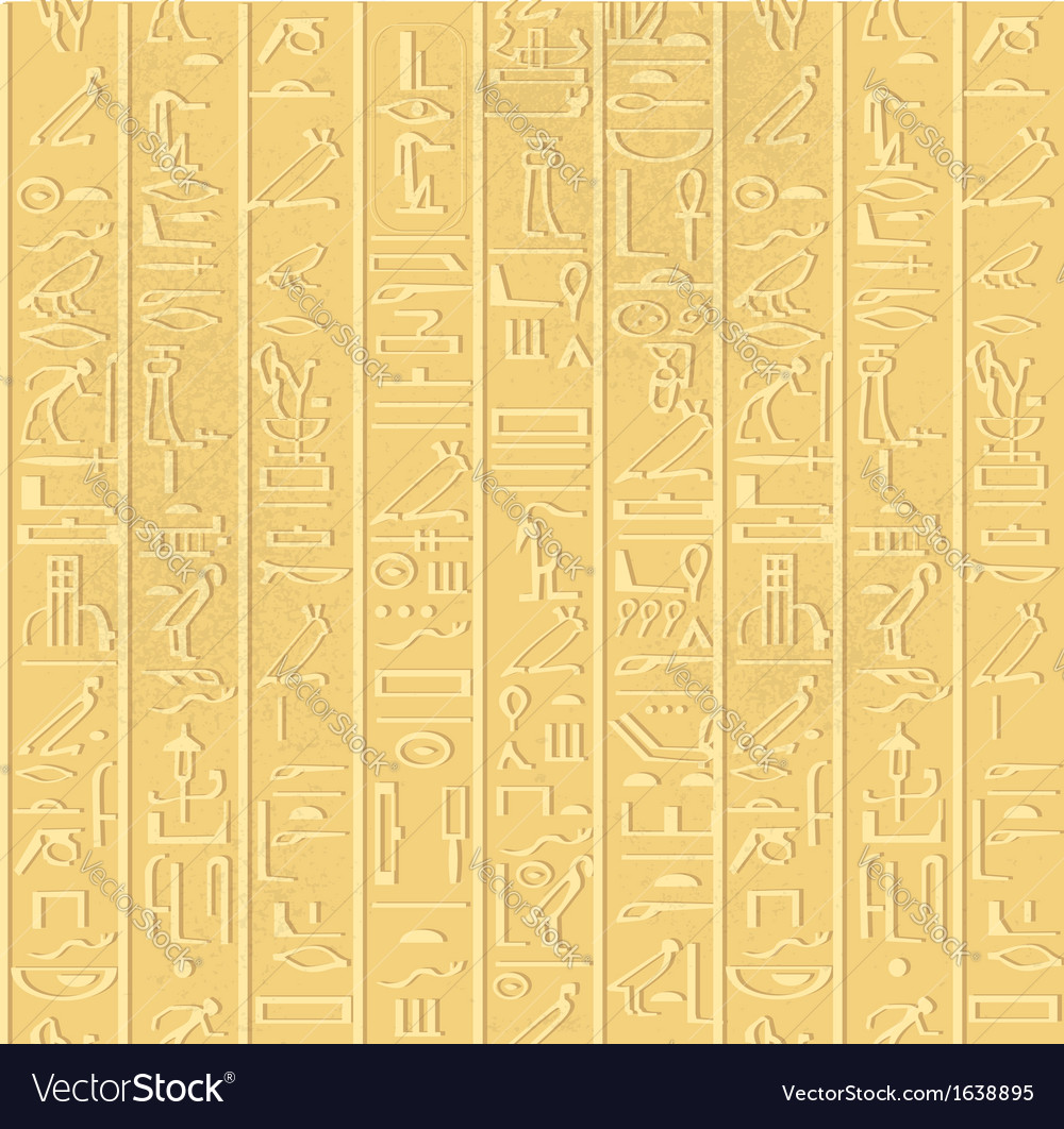 Seamless pattern of egyptian hieroglyphics vector