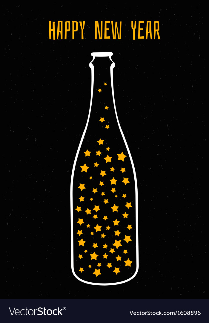 Champagne with the stars vector