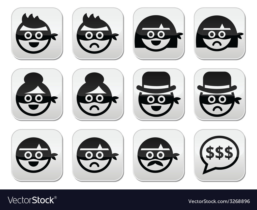 Thief man and woman faces in masks icons set vector