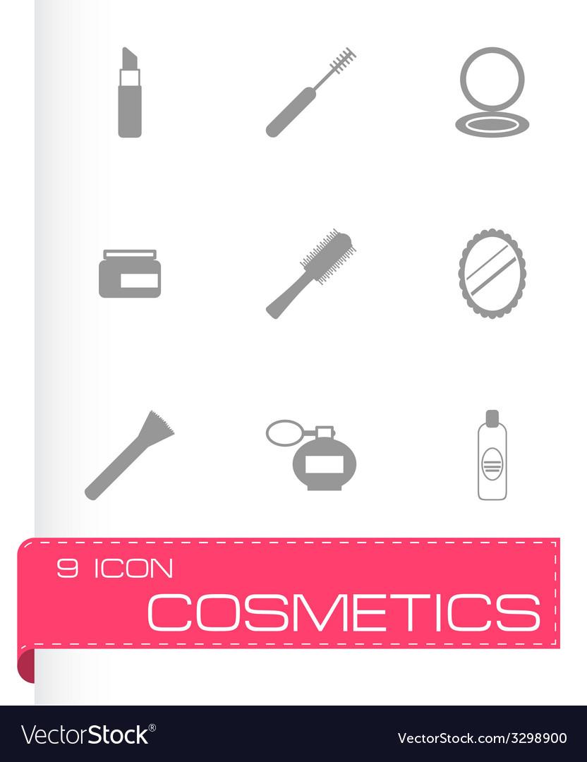 Black cosmetics eyes icons set vector