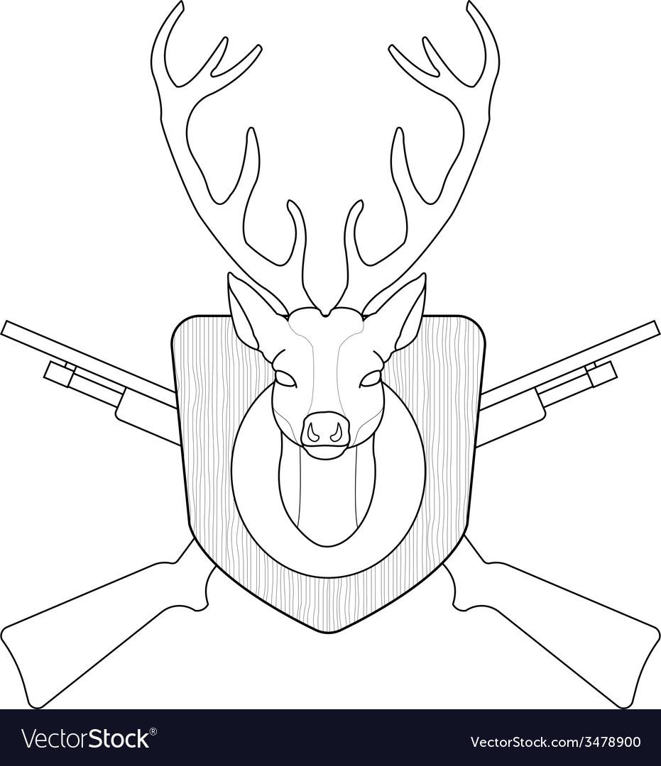 Hunting trophy taxidermy deer head line-art vector
