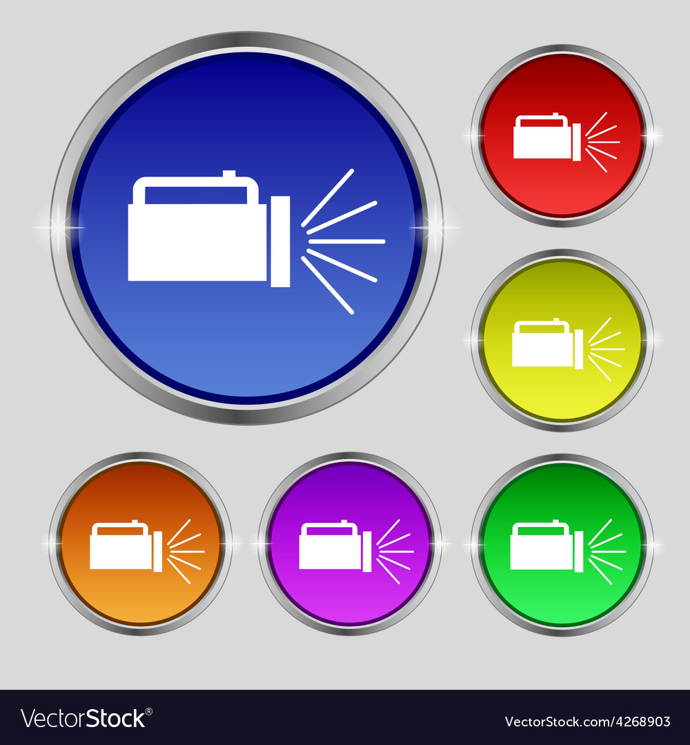 Flashlight icon sign round symbol on bright vector