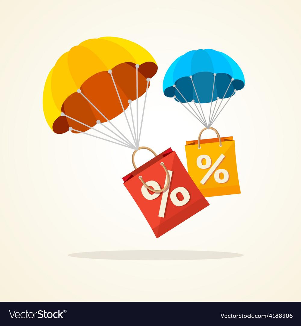Parachute with paper bag sale flat design vector