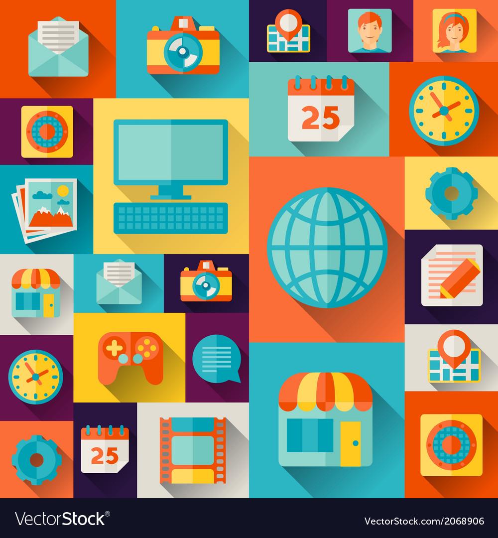 Social media concept in flat design style vector