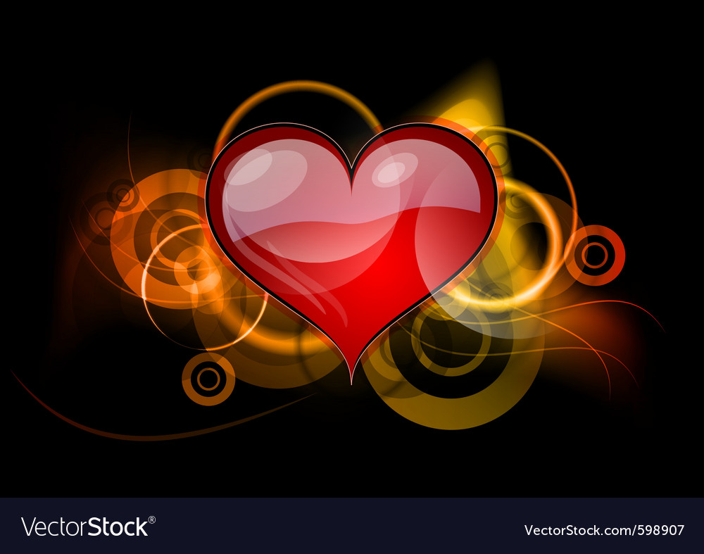 Red heart with gold elements vector