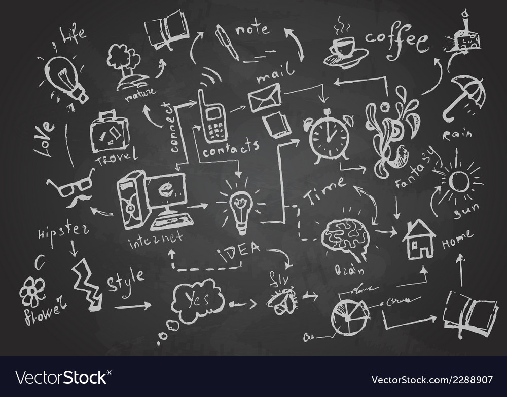 Set of chalk objects drawings vector