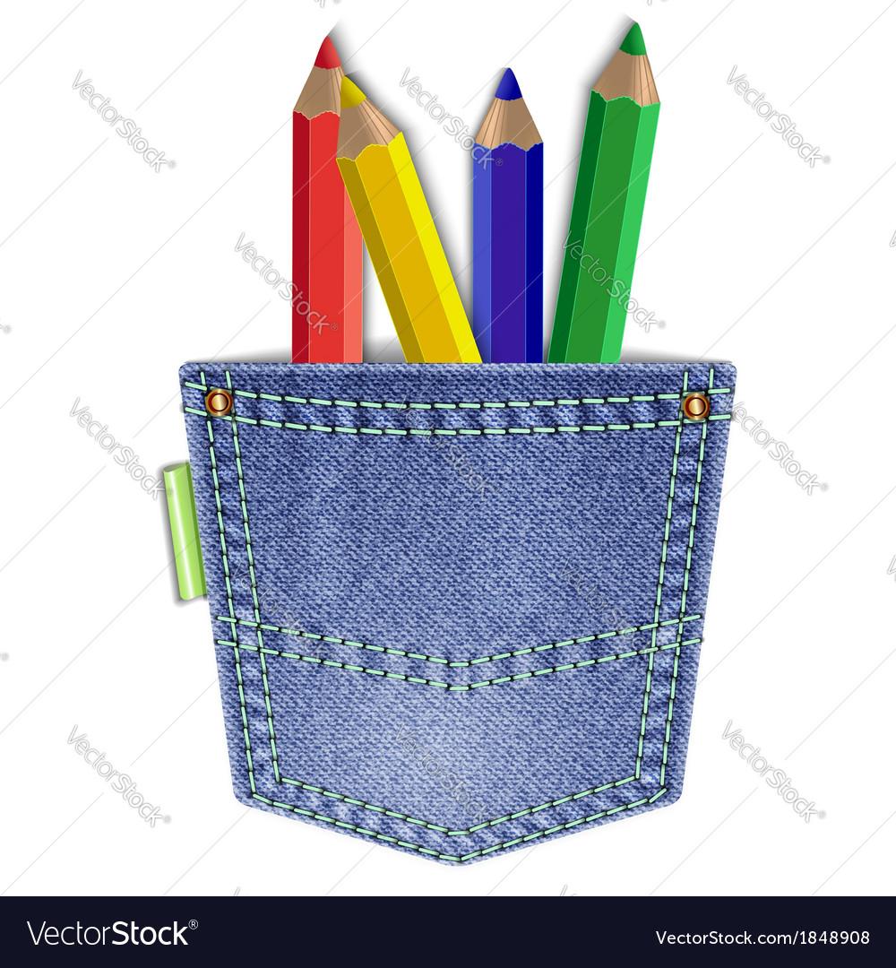 Pocket with pencils vector