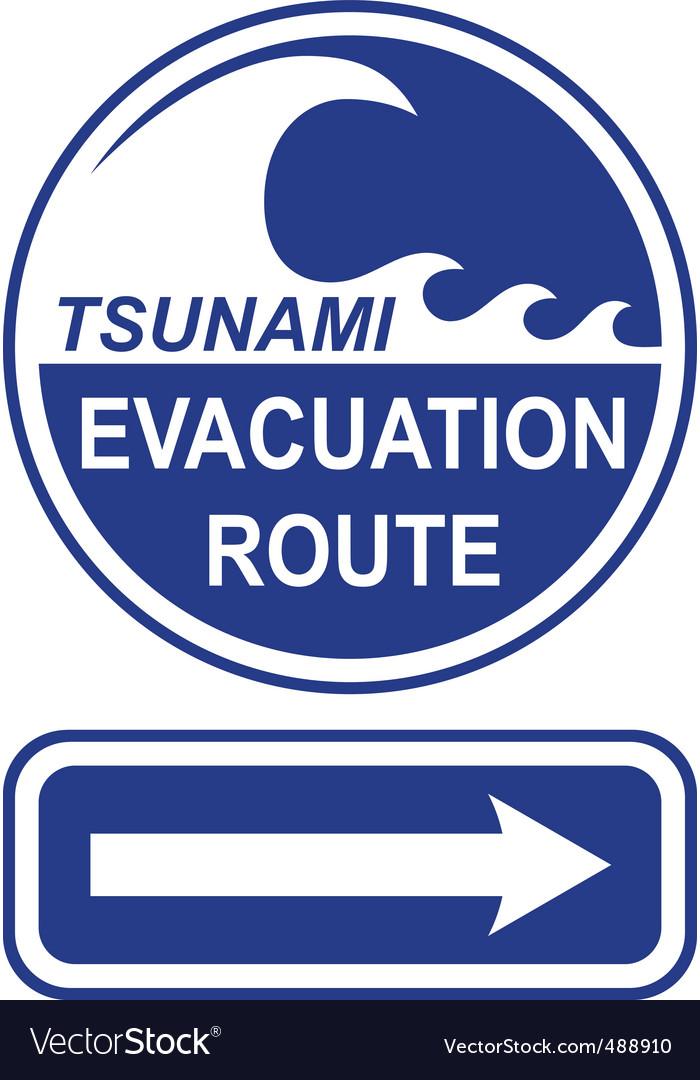 Tsunami evacuation route sign vector