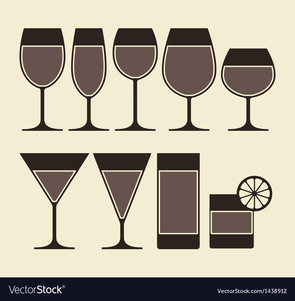Alcohol wine beer cocktail and vector