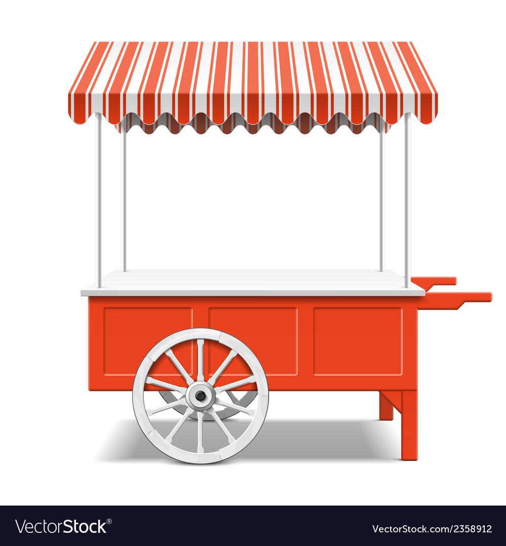 Red farmers market cart vector