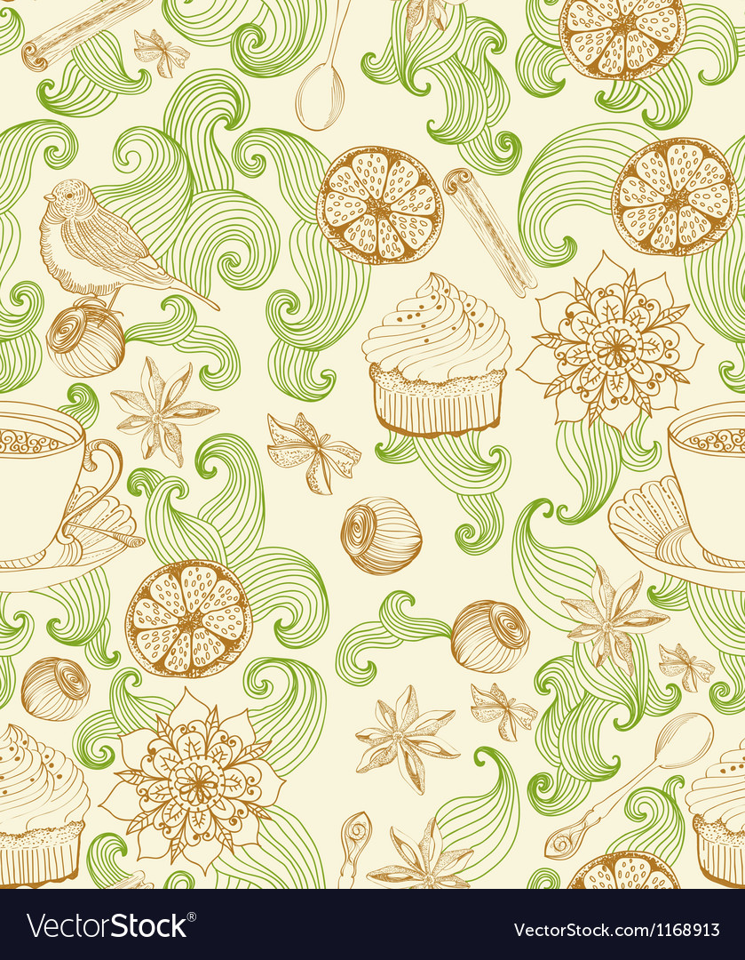 Seamless floral card with tea cup vector