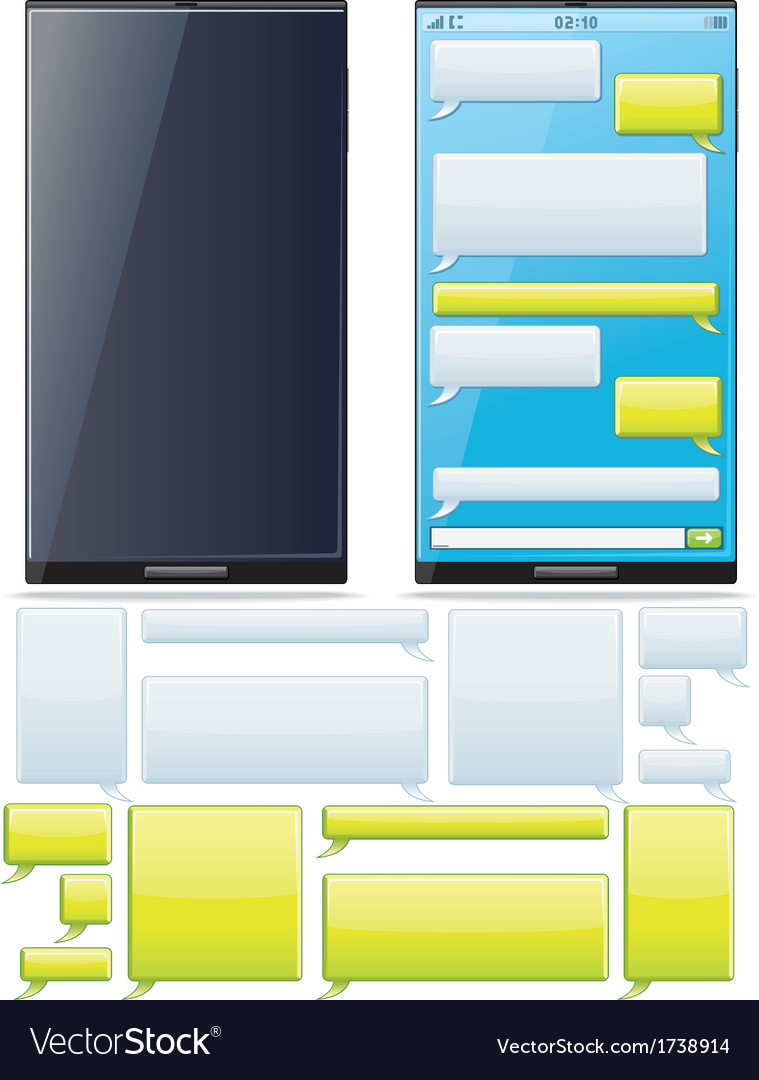 Smartphone sms chat template vector