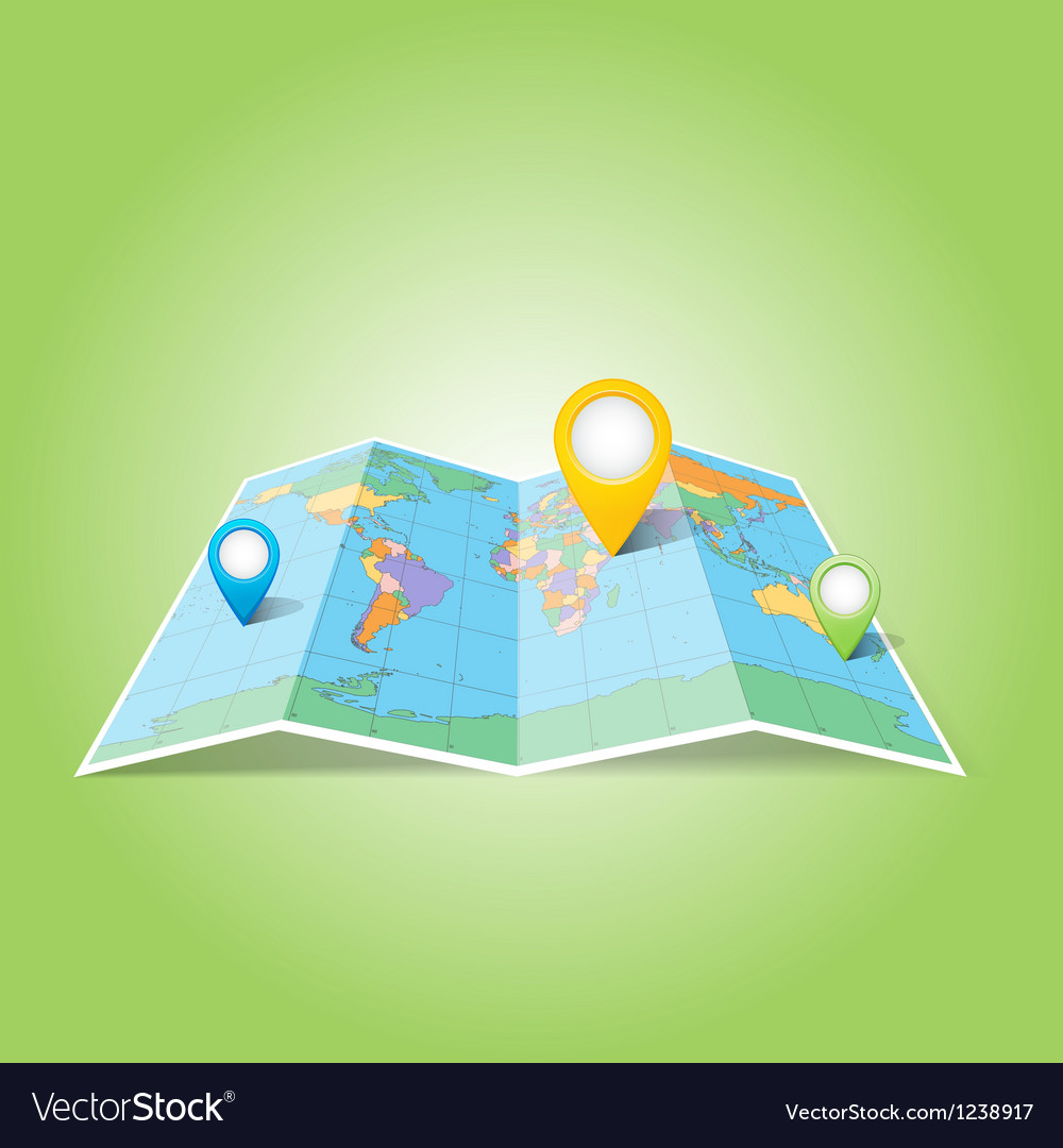 World map with map pins pointer icons vector