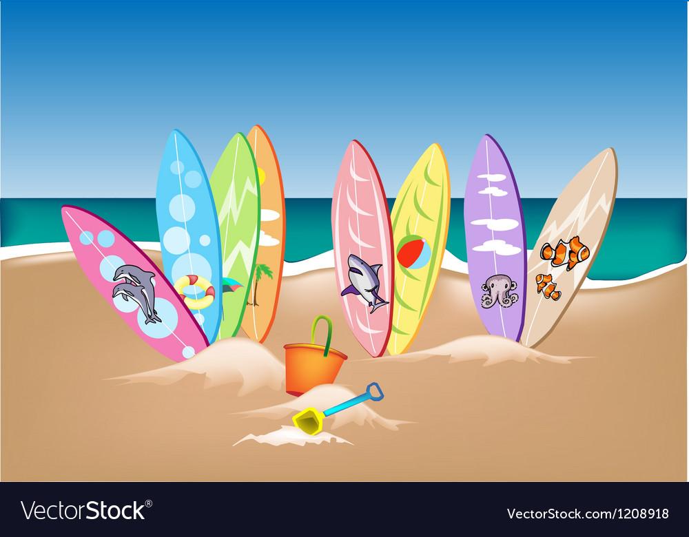 Set of surfboards on a beach vector