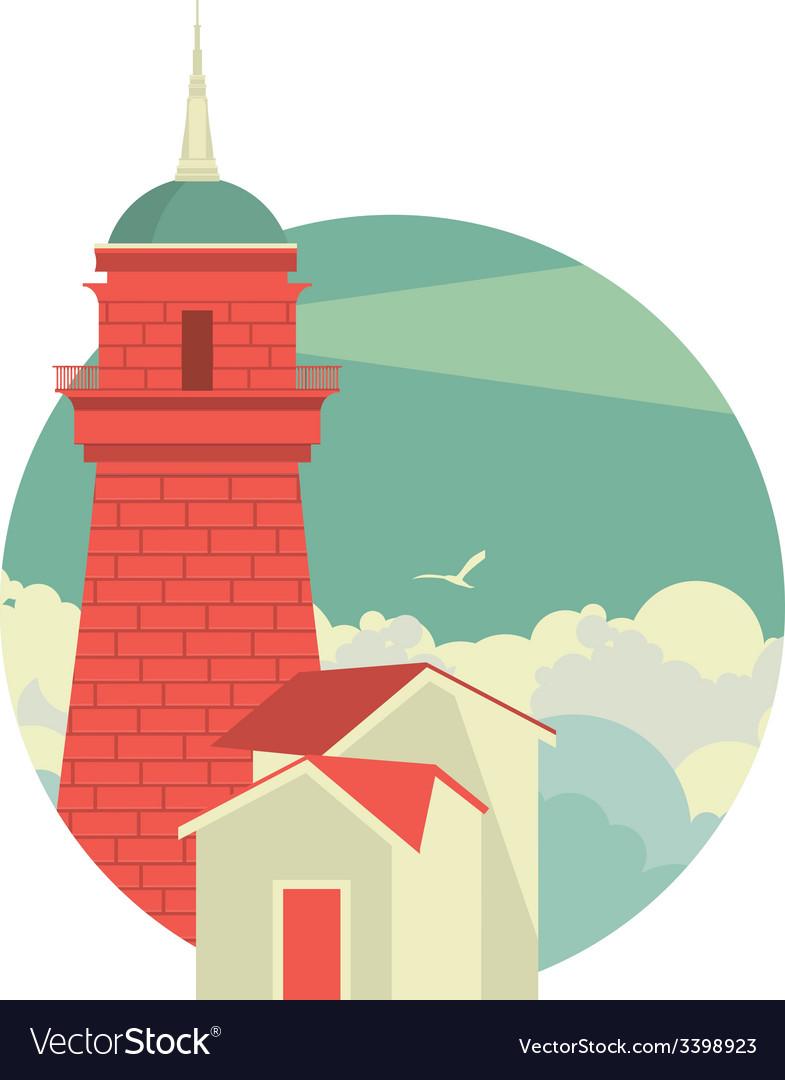 Marine emblem with lighthouse vector