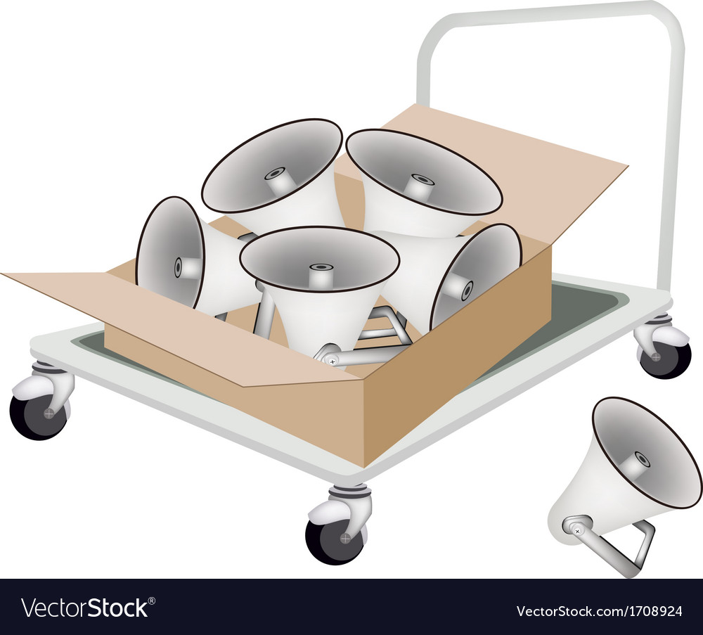 Hand truck loading megaphones in shipping box vector