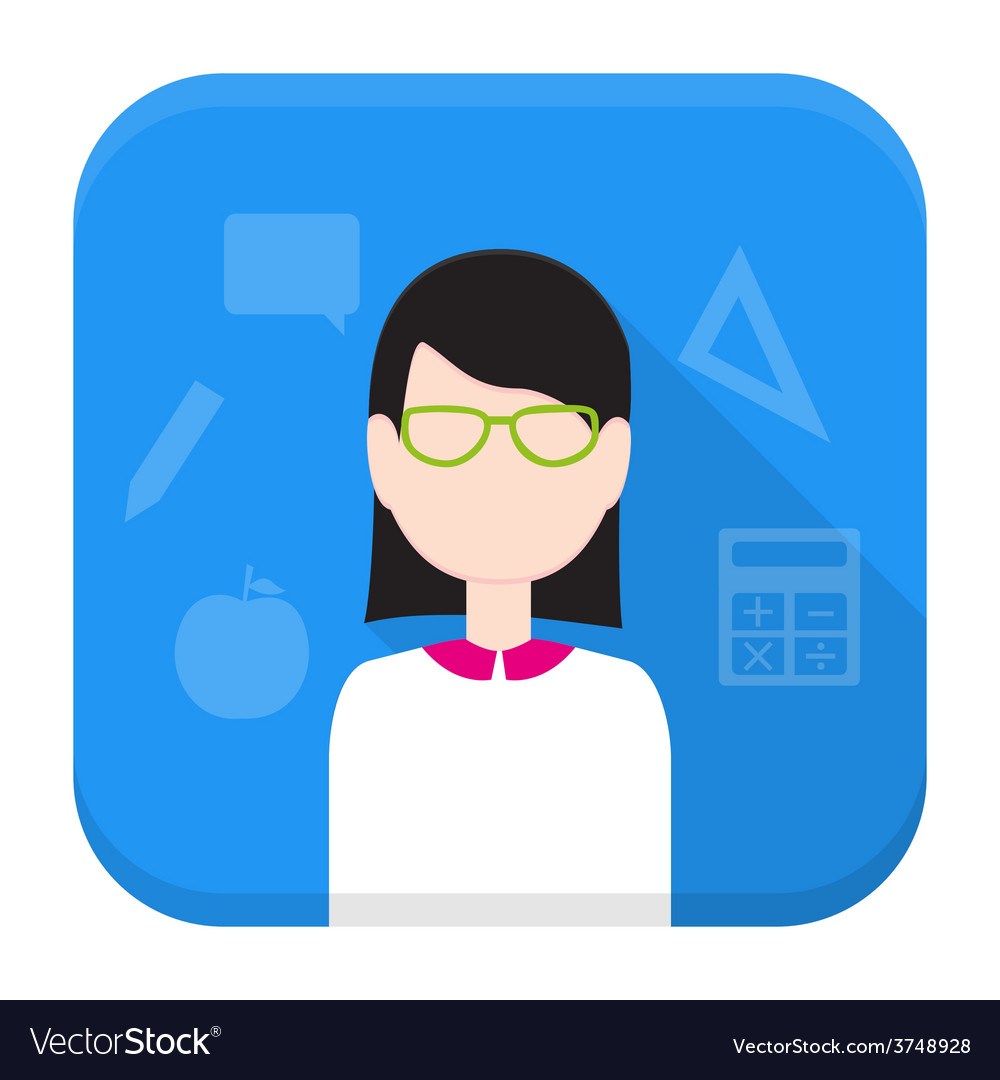 Teacher app icon with long shadow vector