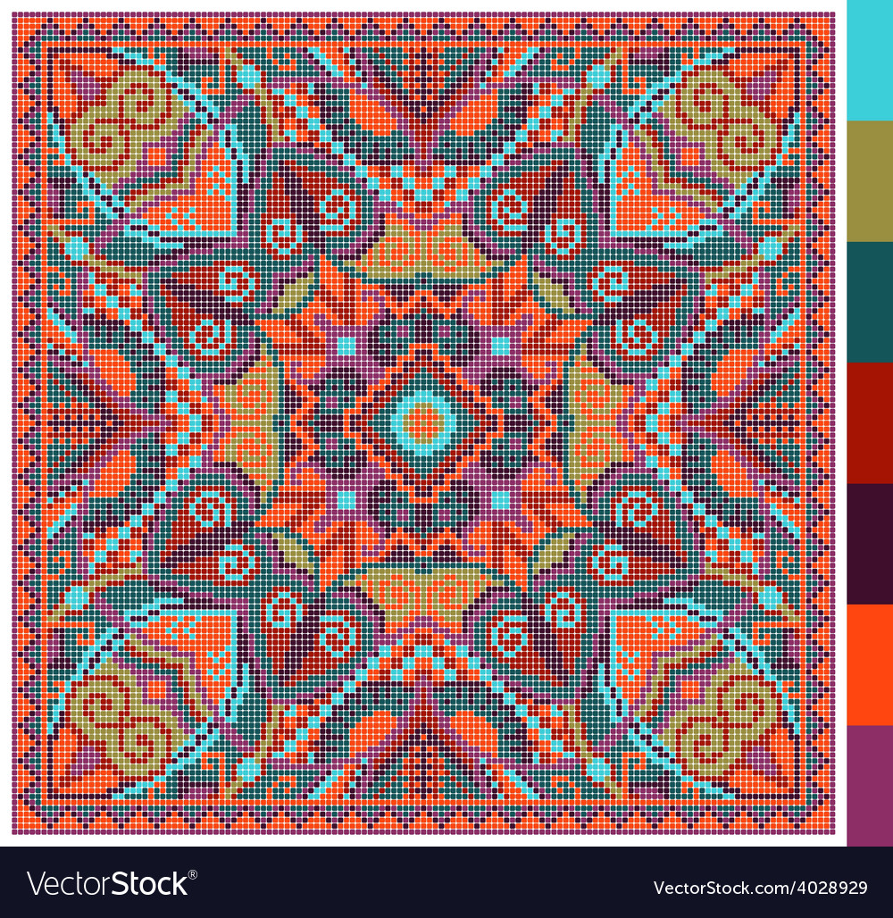 Geometric square pattern for cross stitch vector