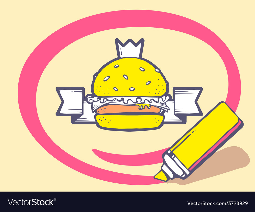 Marker drawing circle around burger with vector
