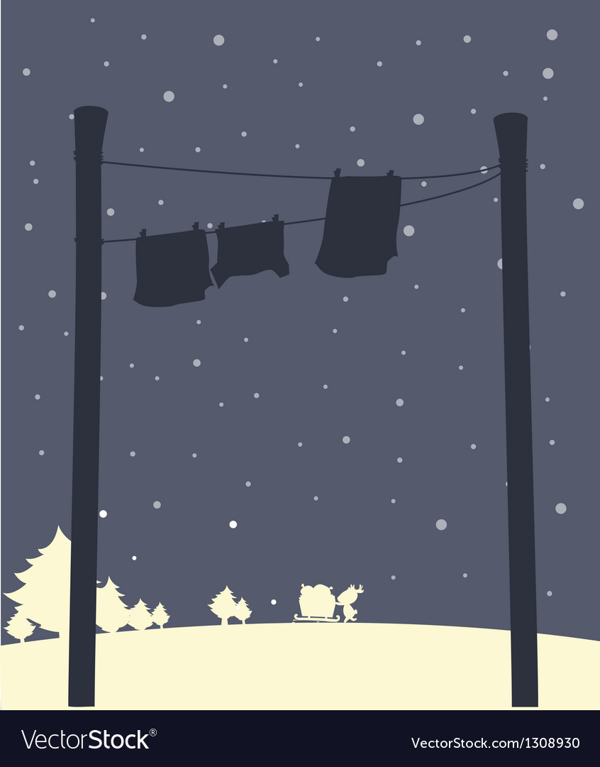 Hanging clothes during snow vector