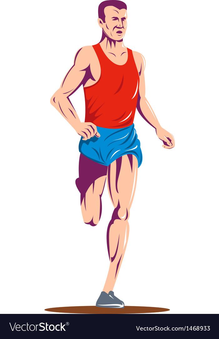 Marathon runner running race vector