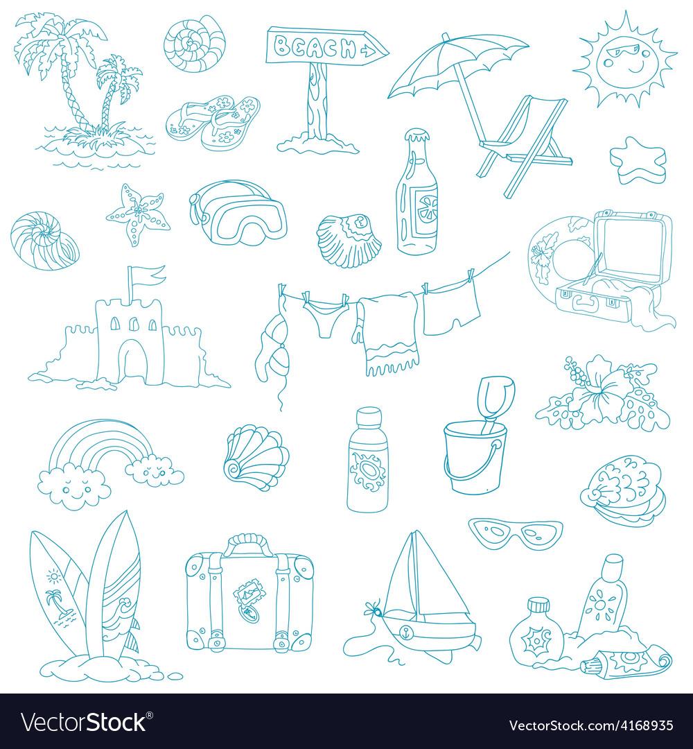 Seaside and summer - design elements vector