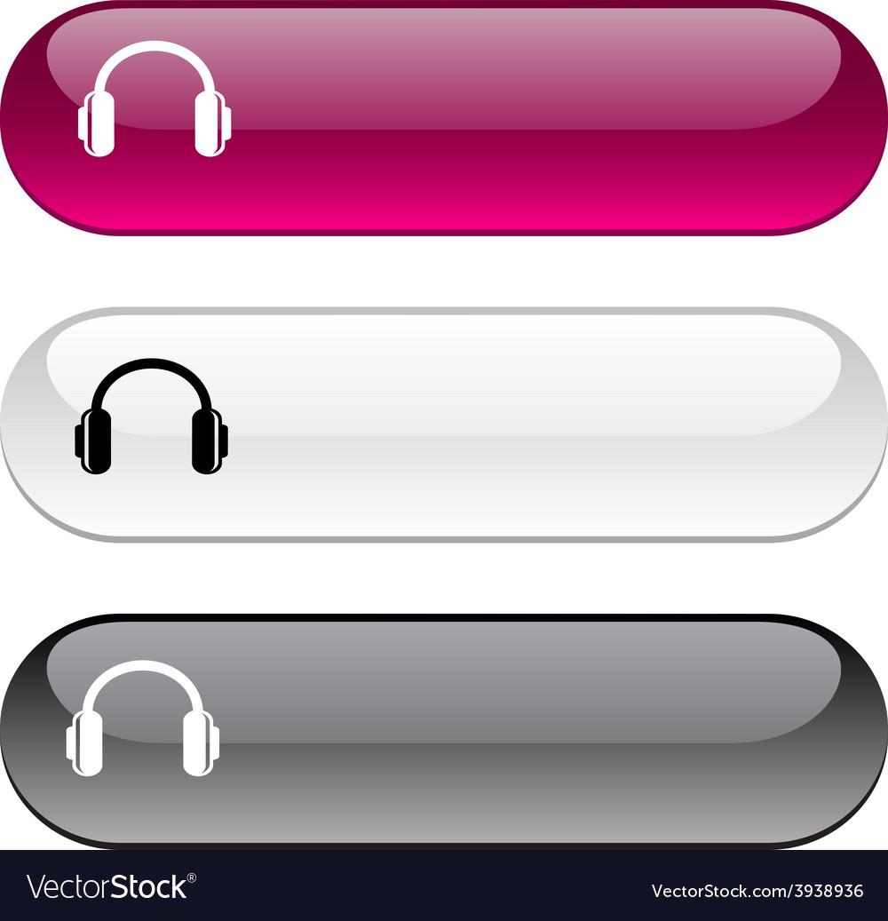 Headphones button vector