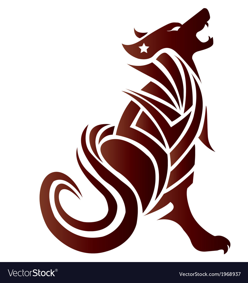 Silhouette of a wolf and designs for tattoos vector