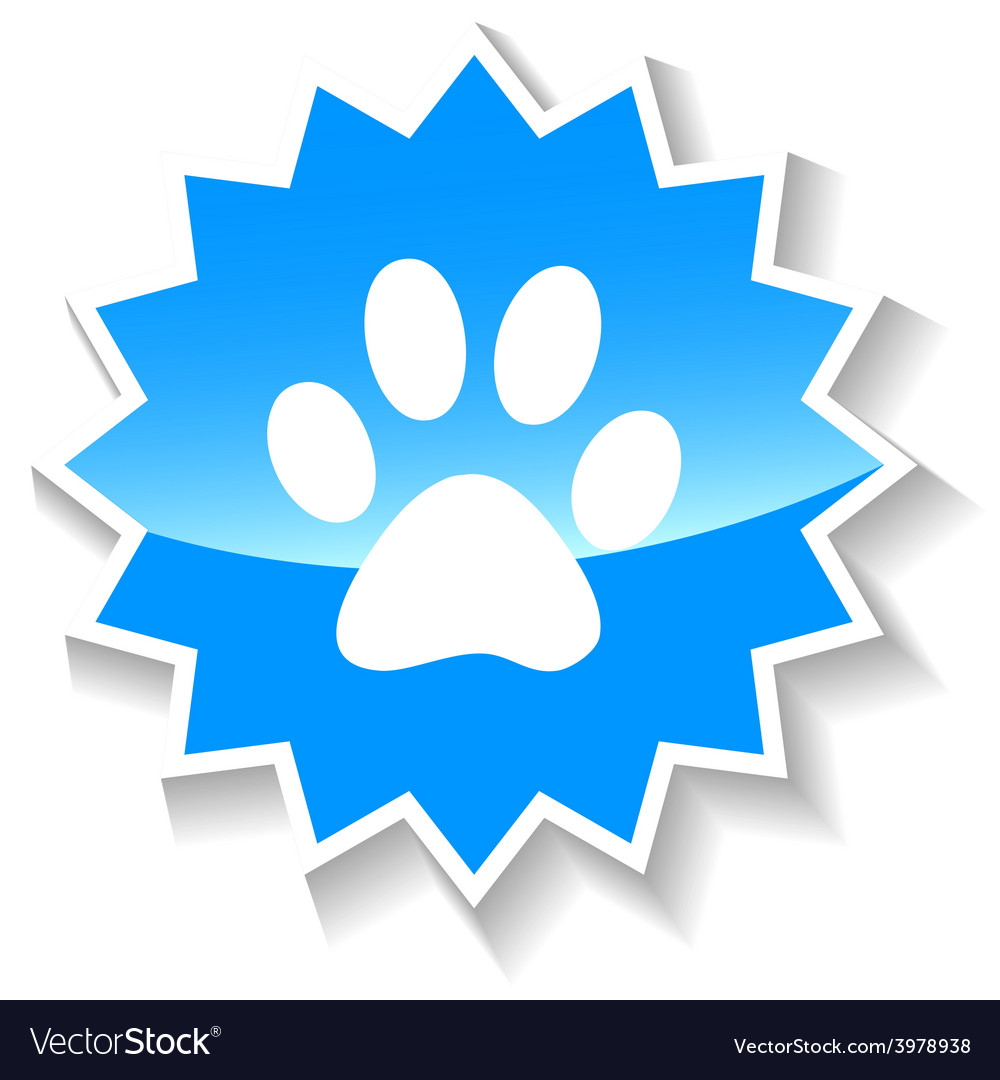 Paw blue icon vector