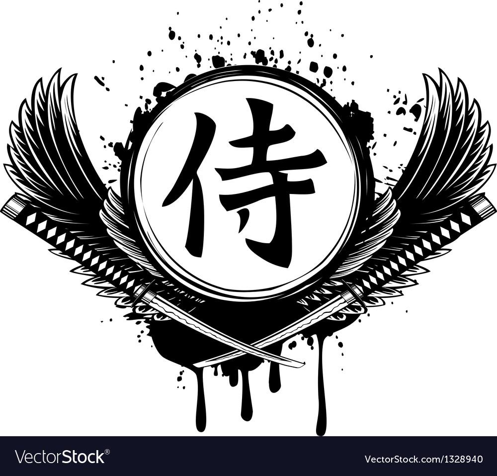 Hieroglyph samurai wings and crossed samurai vector