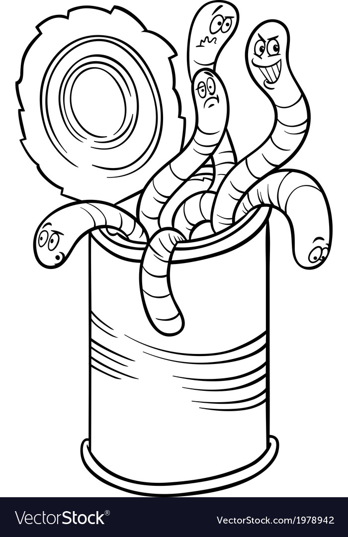 Can of worms saying cartoon vector