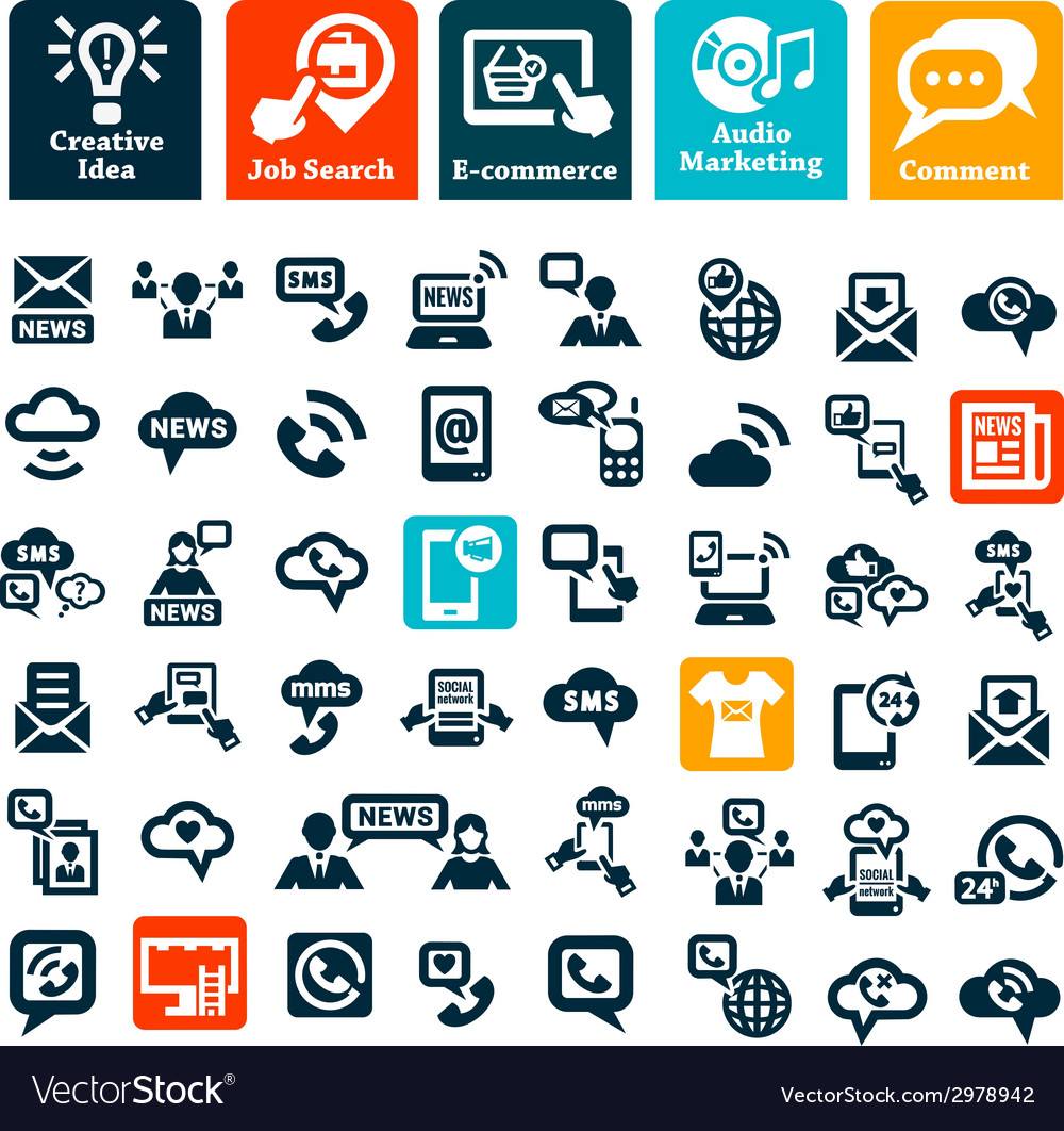Communication web icons set vector