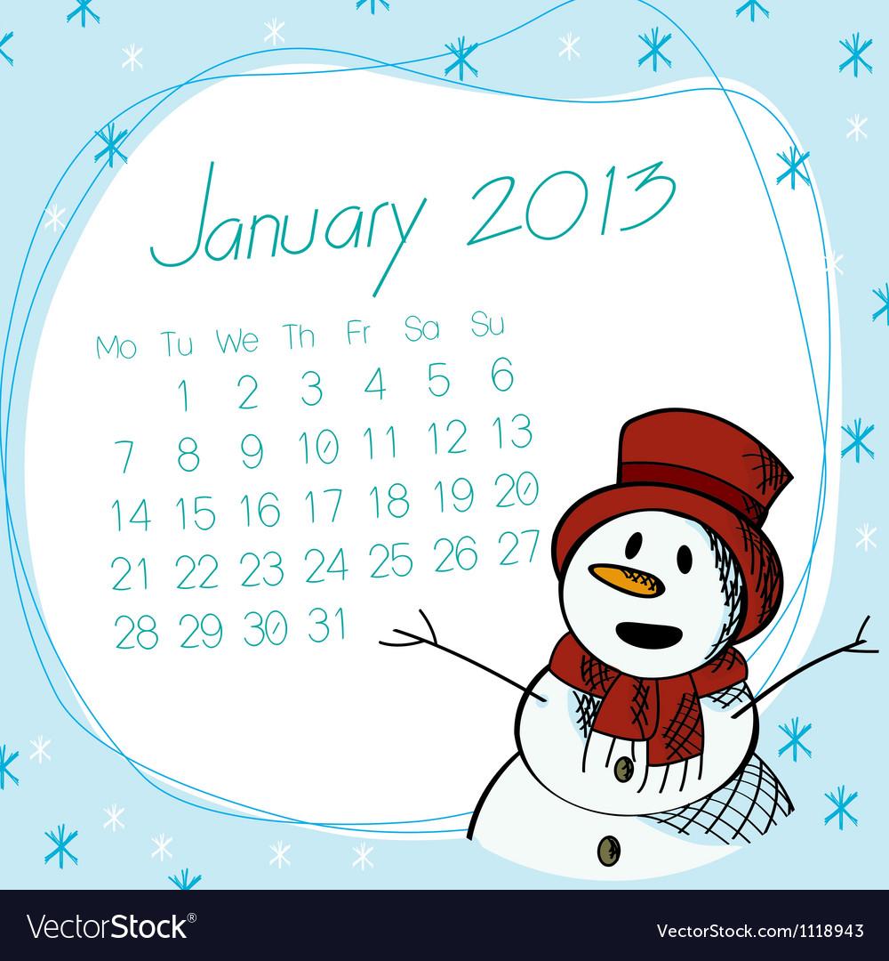 January 2013 snow man calendar vector