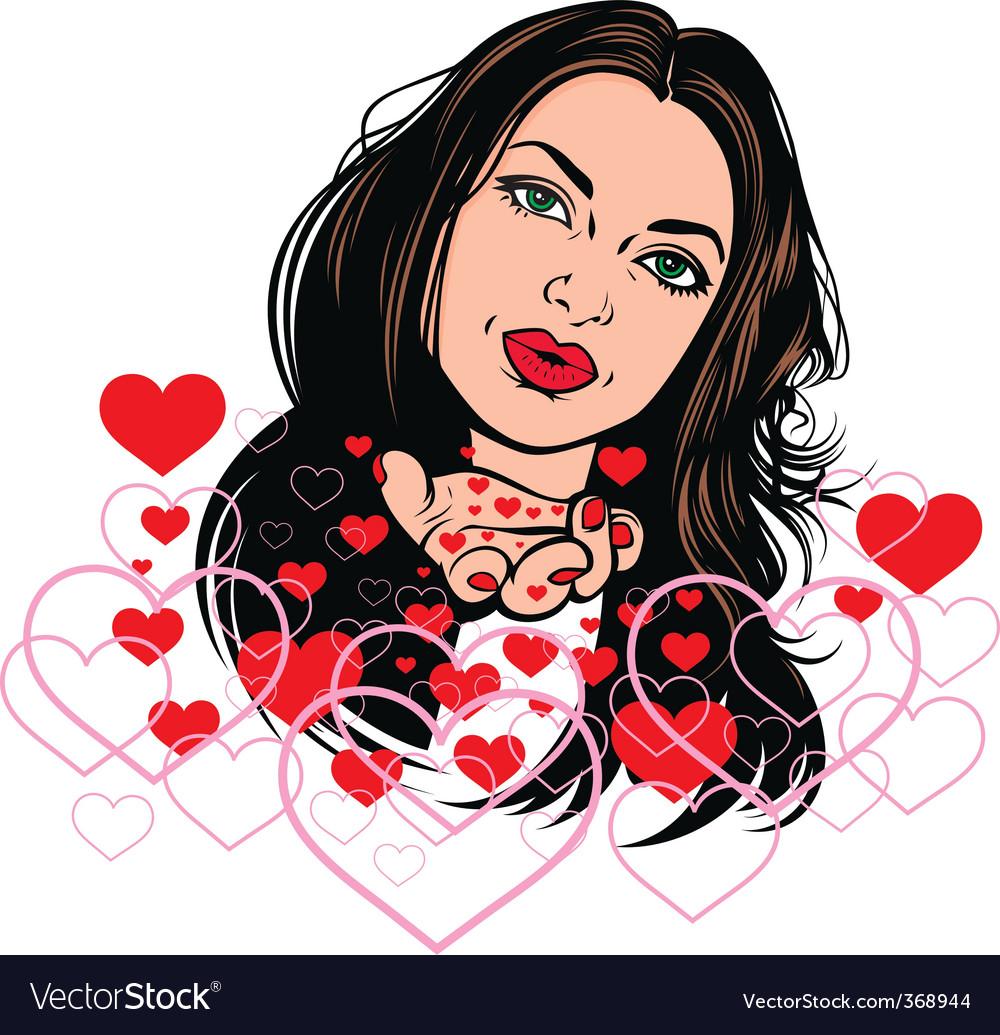 Girl in love vector