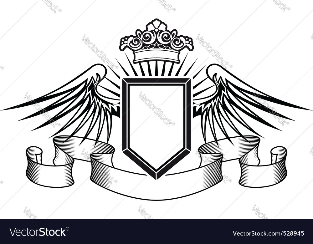 Heraldry shield with angel wings ribbons and crown vector