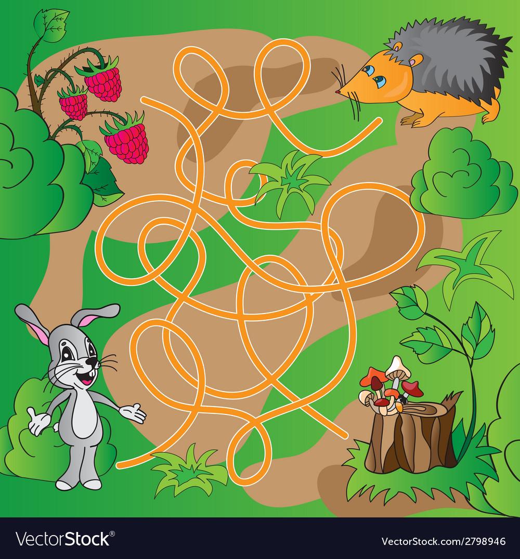 Childrens puzzle - maze vector