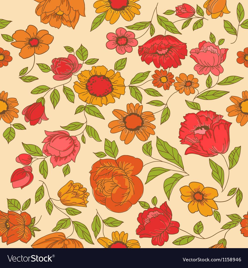 Seamless vintage flower background vector