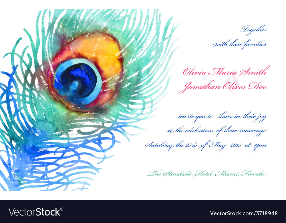 Elegant background with watercolor peacock vector