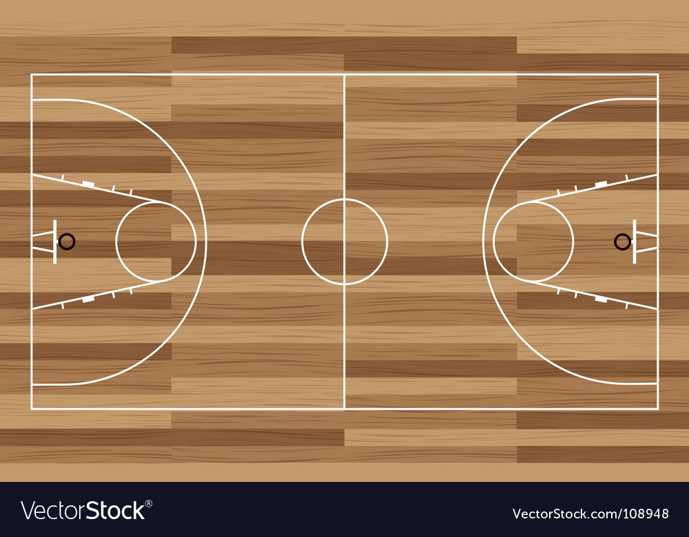 Wood basketball court vector