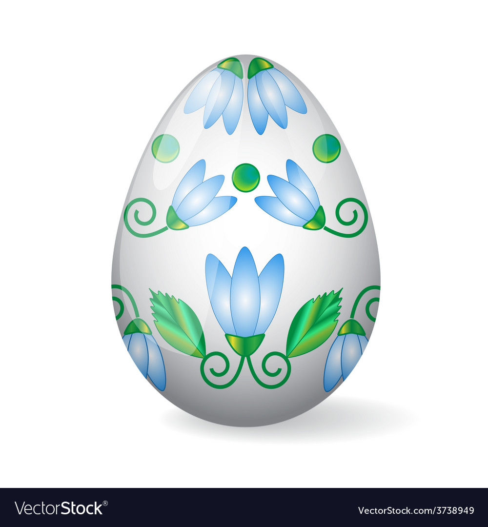 Isolated easter egg with lily decor vector