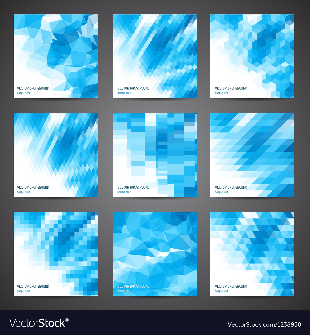 Mosaic abstract geometric backgrounds set vector