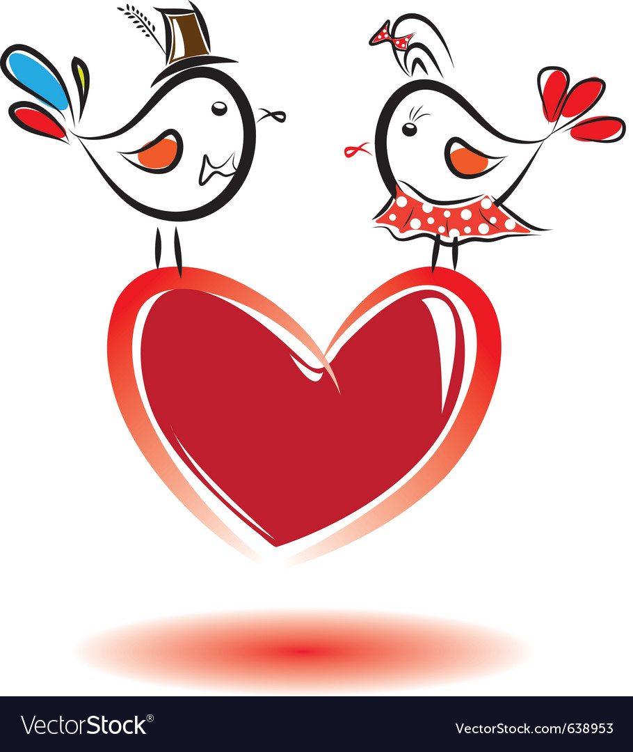 Birds with love valentine day vector
