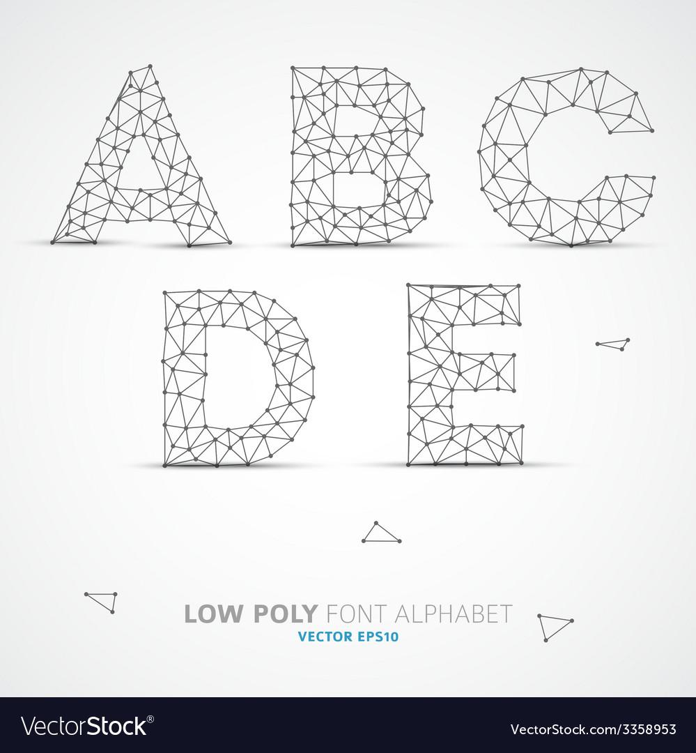 Low poly alphabet font vector