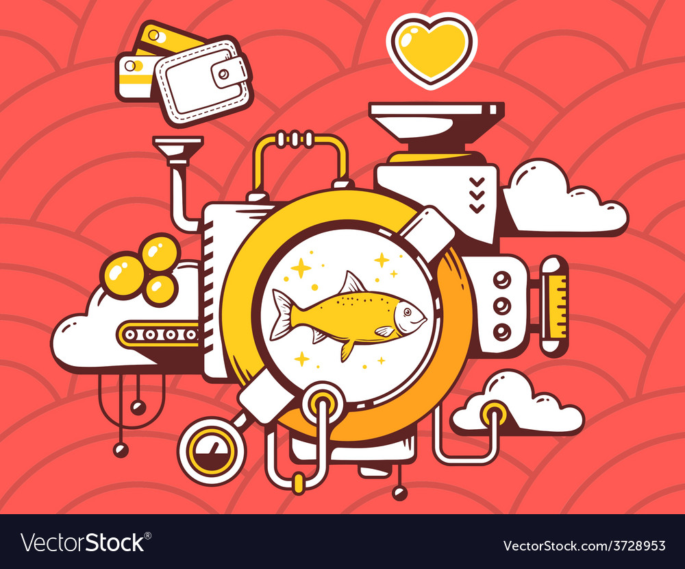 Mechanism with fish and relevant icons on vector