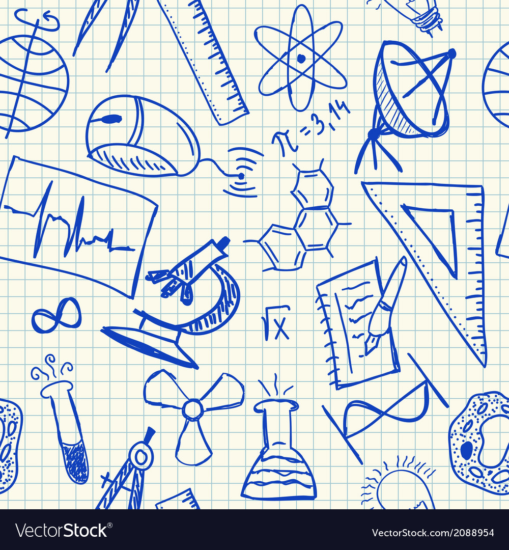 Science doodles seamless pattern vector