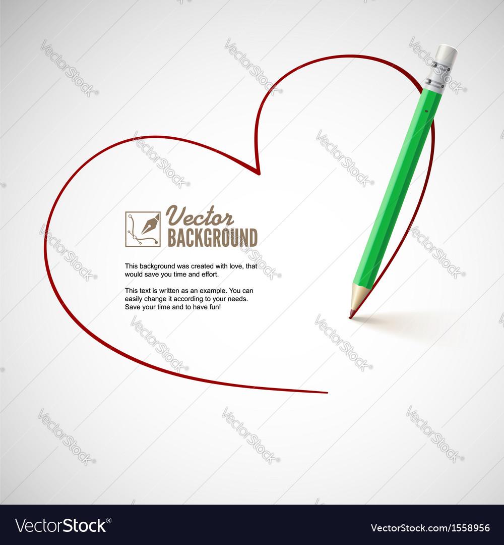 Pencil drawing heart vector