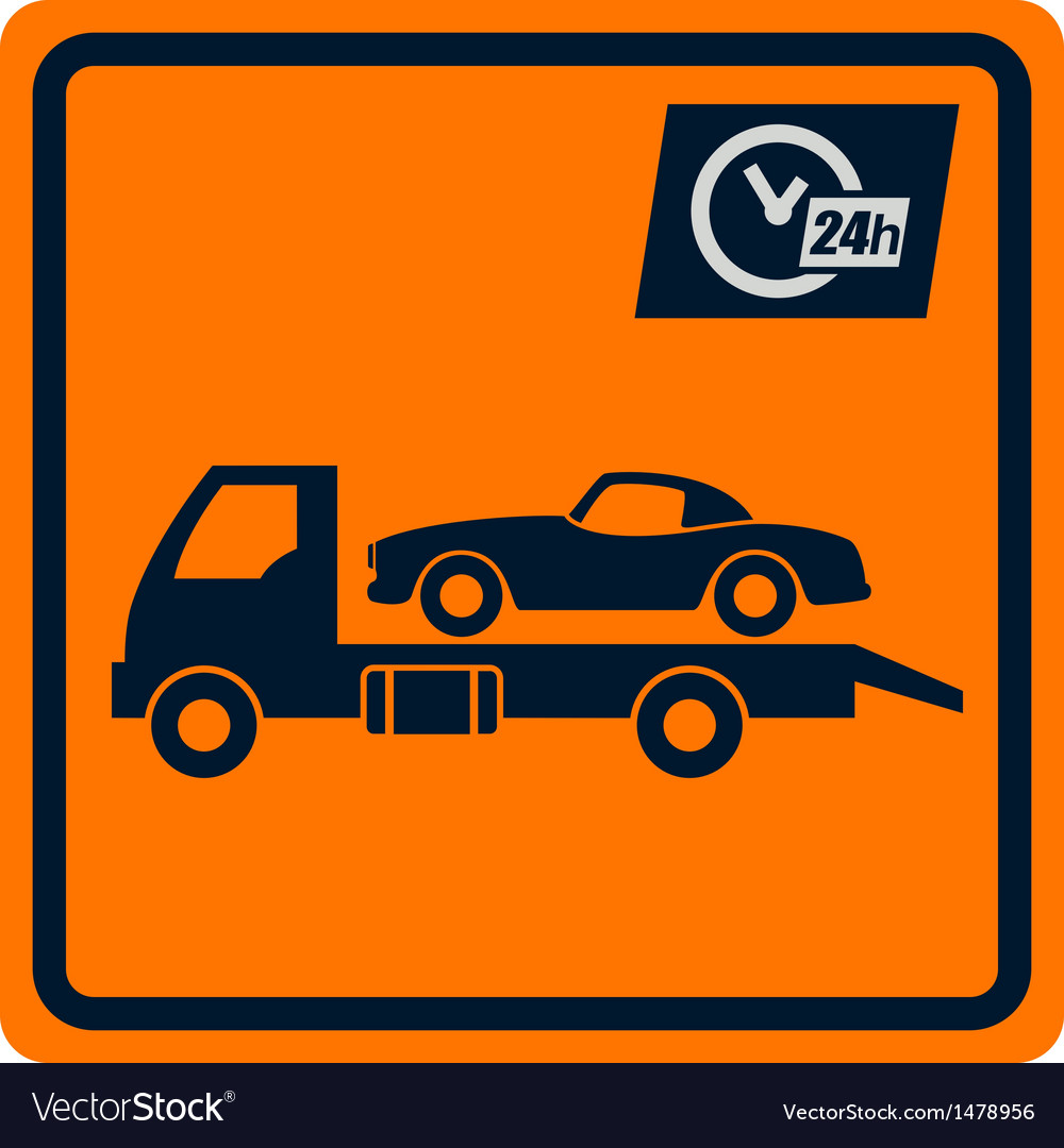 Sign with truck tows vector
